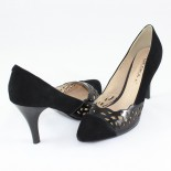 Pantofi piele intoarsa dama - negru, Deska - toc inalt - 3G237-37180D-A0342Z-1-Black