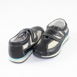 Pantofi piele naturala copii - bleumarin, bej, Marelbo - C03-AlbastruBej