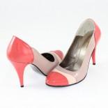 Pantofi piele naturala dama - bej, coral, multicolor, Nike Invest - toc inalt - M420-Or-Bej