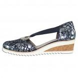 Pantofi piele naturala dama - bleumarin, argintiu, Remonte - toc mediu - D5502-14-blue-combination