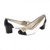 Pantofi Deska e - white/black, din piele naturală