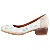 Pantofi piele naturala dama bej Yussi toc mic 542-T-08-158-28