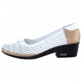 Pantofi piele naturala dama alb maro Yussi shoes toc mic 295-T-42-Alb
