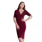 Rochie dama de ocazie eleganta bordo Per Donna midi Mirela-81251-Bordo