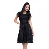 Rochie dama de ocazie eleganta cu dantela negru Per Donna midi Sonia-51452-Negru