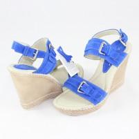 Sandale piele intoarsa dama albastru Agressione Kary-Albastru