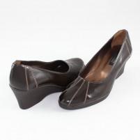 Pantofi piele naturala dama maro Agressione toc mediu LadyLac-Maro