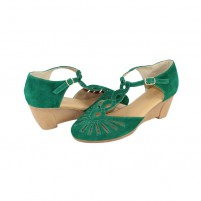 Sandale piele intoarsa dama verde Agressione Tina-V1-Verde