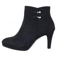 Botine piele intoarsa dama elegante negru Marco Tozzi 2-25342-23-001-Black