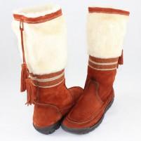 Cizme piele intoarsa dama portocaliu Colly iarna 329-300-Teracota