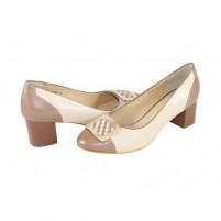 Pantofi piele naturala dama bej Deska toc mic 4G55-6F160Q-A2929Z-1-Beige-Camel