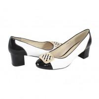 Pantofi piele naturala dama negru alb Deska toc mic 4G55-6F160Q-A3289Z-White-Black