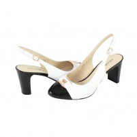 Pantofi piele naturala dama negru alb Deska toc mediu 4K119-3F140D-A3289Z-White-Black