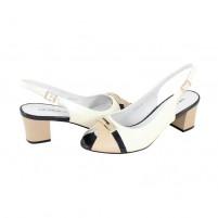 Pantofi piele naturala dama alb bej Deska toc mic 4W76-3F1D-A2891Z-Custurd