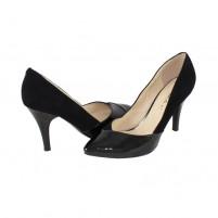 Pantofi piele intoarsa dama negru Deska toc inalt 9G779F-3F122D-A3289Z-BLKPT-BLKSU