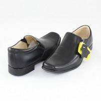 Pantofi piele naturala copii baieti negru Marelbo 111-Negru