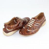 Pantofi piele naturala dama maro Nicolis lac L-Maro