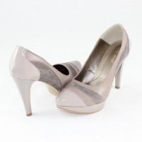 Pantofi piele naturala dama gri Nike Invest toc inalt M407-Gri-L-Bej
