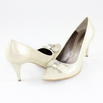 Pantofi piele naturala dama auriu Nike Invest toc inalt M427-Bej-S