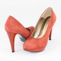 Pantofi piele intoarsa dama coral Nike Invest toc inalt M137-CRZB