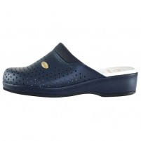 Saboti Scholl - clog back guard navy blue, din piele naturala