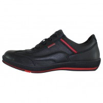 Pantofi piele naturala sport barbati negru rosu Bit Bontimes B7706Ripon-Negru-Rosu