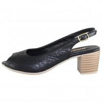 Pantofi piele naturala dama negru Dogati shoes toc mic 669-01-Negru