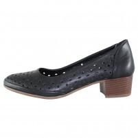 Pantofi piele naturala dama negru Dogati shoes toc mic 801-10-Siyah-Negru