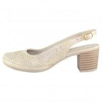 Pantofi piele naturala dama bej Dogati shoes toc mic 802-10-Bej