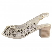 Pantofi piele naturala dama bej Dogati shoes toc mic 804-11-Bej