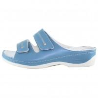 Papuci piele naturala dama albastru Dr. Batz medicinali Lia-Blue