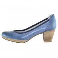 Pantofi piele naturala dama albastru Marco Tozzi toc mediu 2-22420-20-Ocean