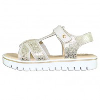 Sandale piele naturala copii fete alb auriu Melania ME6006F9E-B