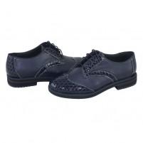 Pantofi Nicolis - albastru croco, din piele naturală