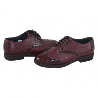 Pantofi Nicolis - visiniu croco, din piele naturală