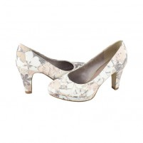 Pantofi dama bej s.Oliver toc mediu 5-22409-26-407-Beige-Flower