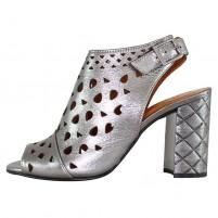 Sandale piele naturala dama argintiu Dogati shoes toc inalt 672-578-Argintiu