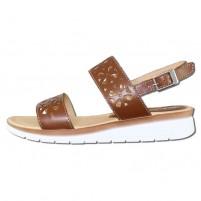 Sandale piele naturala dama maro alb Elvis 346511-Marrone