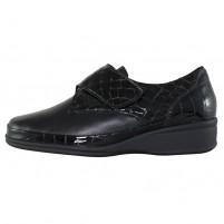Pantofi piele naturala dama negru Waldlaufer relax confort ortopedic lac 860540-214-001-moni