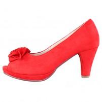Pantofi dama rosu Andrea Conti toc mediu 1003446-Red