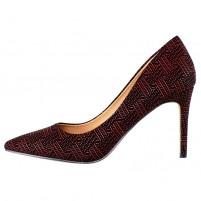 Pantofi dama rosu Azarey toc mediu 459D720-Rojo