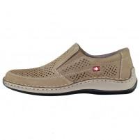 Pantofi piele naturala barbati bej Rieker relax confort 05277-64-Beige