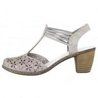 Pantofi piele naturala dama bej Rieker toc mediu 40966-64-Beige