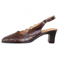 Pantofi piele naturala dama maro Nicolis toc mediu 55084-Maro