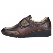 Pantofi piele naturala dama maro Rieker relax confort 53750-25-Maro