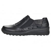 Pantofi piele naturala dama negru Rieker relax confort L7178-00-Negru