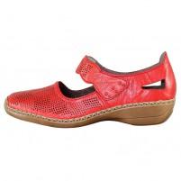 Pantofi piele naturala dama rosu Rieker relax confort 413G6-33-Red