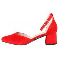 Pantofi piele naturala dama rosu Rieker toc mediu 49150-33-Rosu