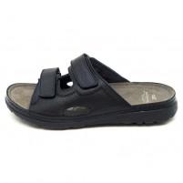 Papuci piele naturala barbati negru Dr. Batz medicinali Mike-Negru