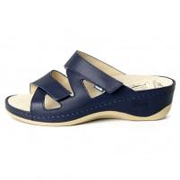 Papuci piele naturala dama albastru Dr. Batz medicinali Evelin-Albastru